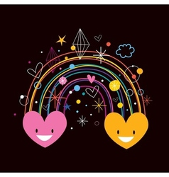 Rainbow hearts 2 vector