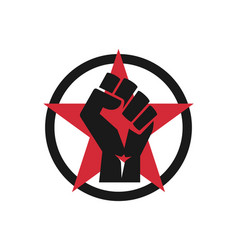 Raised fist logo icon - isolated vector