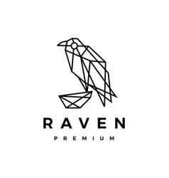 Raven crow bird monoline geometric polygonal logo vector