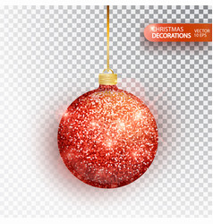 red christmas ball hanging isolated on white vector image