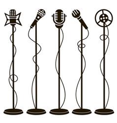 retro microphone icons vector image