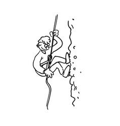 Rock climbing boy outlined cartoon hand drawn vector