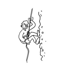 rock climbing boy outlined cartoon handrawn vector image