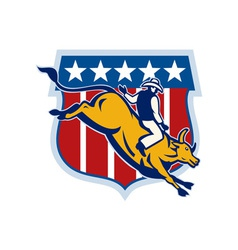 Rodeo cowboy bull riding vector image