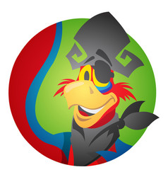 round sticker with the image of a cheerful parrot vector image