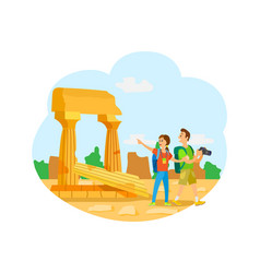 Ruins old city remains touristic attraction vector