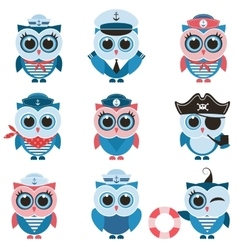 sailor owls and owlets set vector image