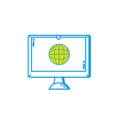 screen electronic equipment with global conection vector image