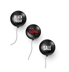 set black balloons with discount offer black vector image