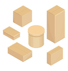 Set cardboard boxes vector