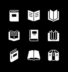 set glyph icons book vector image