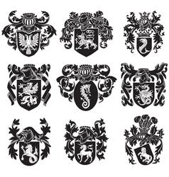 set heraldic silhouettes no1 vector image
