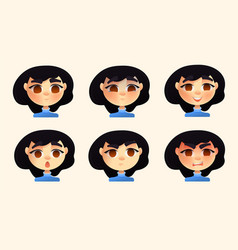 set of character young woman emotions vector image