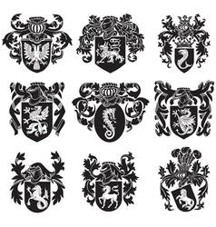 Set of heraldic silhouettes no1 vector