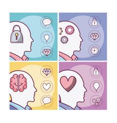 set of human minds card vector image