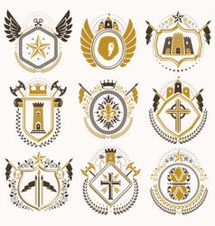 Set of luxury heraldic templates collection of vector