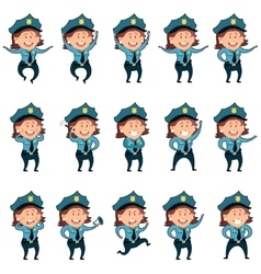 Set of police women flat icons2 vector image