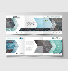 Set of templates for tri-fold brochures square vector