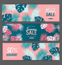 Set summer sale posters with tropic leaves and vector