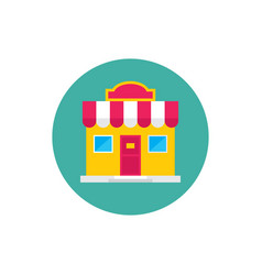 shop house build - concept icon in flat graphic vector image