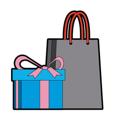 Shopping gift box paper bag market commerce vector