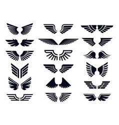 silhouette pair wings icon angel wing vector image