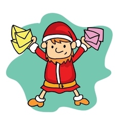 Small Santa with mail Christmas theme vector image