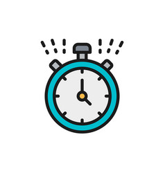 Stopwatch timer clock watch flat color vector