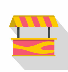 Street stall with striped awning icon flat style vector