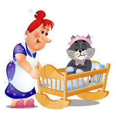 Striped cat in the children swing bed trying vector