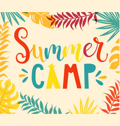 summer camp handdrawn lettering vector image