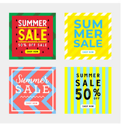 summer sale square banner set design template vector image