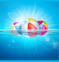 Summer with colorful beach vector