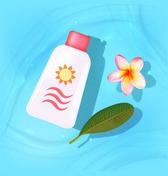 sun protection items laying on sand beach vector image