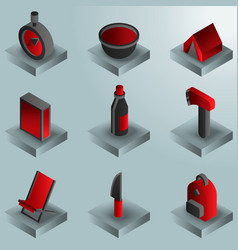 Survival kit color gradient isometric icons vector
