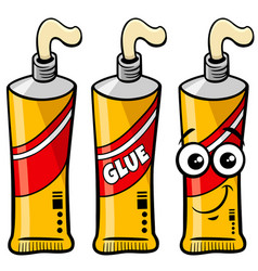Tube glue object and character clip art vector