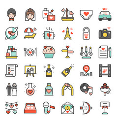 valentine wedding and honeymoon icon set vector image