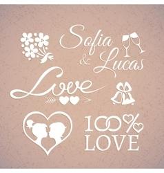 Wedding or Valentines Day design love elements vector image