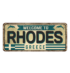 welcome to rhodes vintage rusty metal sign vector image