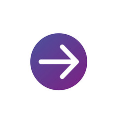 white right rounded arrow in purple gradient vector image