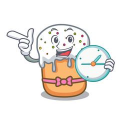 with clock easter cake character cartoon vector image