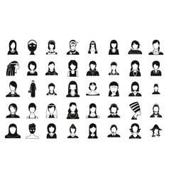 woman silhouette icon set simple style vector image