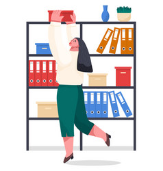 Woman take box from rack with shelves office vector