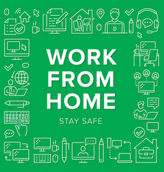 work from home poster frame with line icons vector image