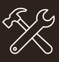 wrench and hammer tool icon vector image