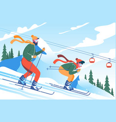 young man father with beard skiing with his son in vector image