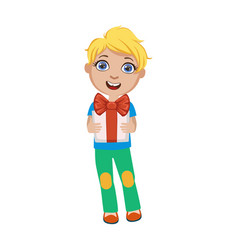 boy holding present part of kids at the birthday vector image