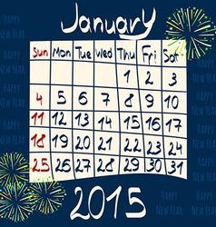 Calendar for January 2015 Cartoon Style Fireworks vector image vector image