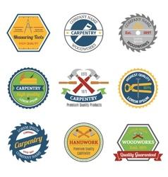 Carpentry color emblems vector image