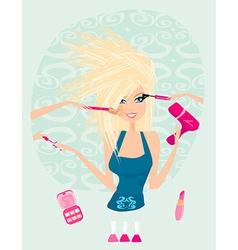 Make-up girl cosmetics set vector image vector image